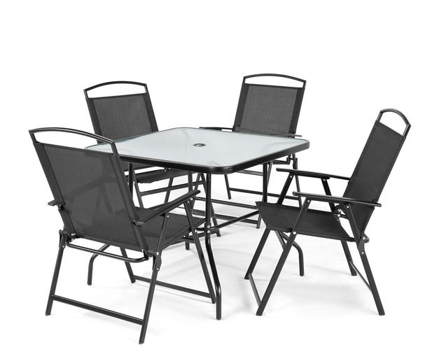 Glass Table with 4 Mesh Chairs