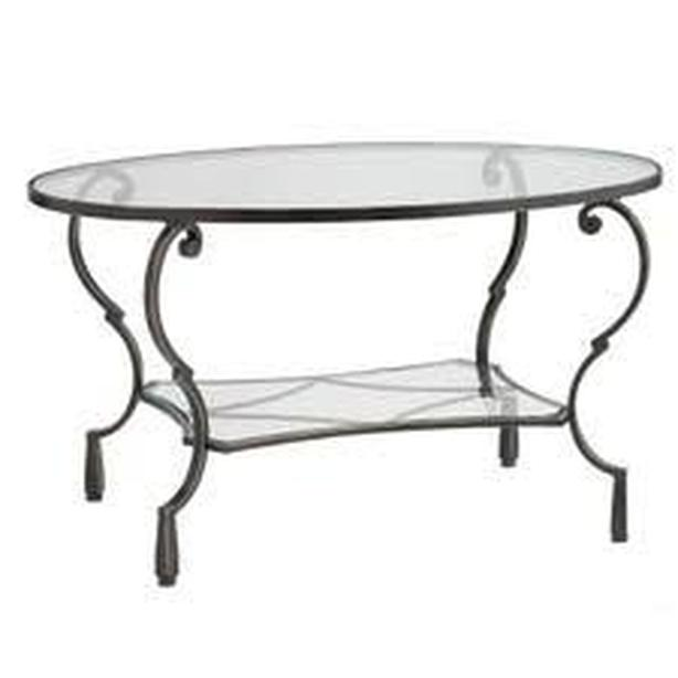 Coffee table/end tables- Oval in metal and glass