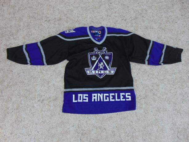 Hockey Jersey Child Size L - X Large 10-14 CCM Los Angeles Kings Purple Black