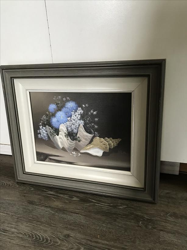 Hand painted on canvas - seashell flowers