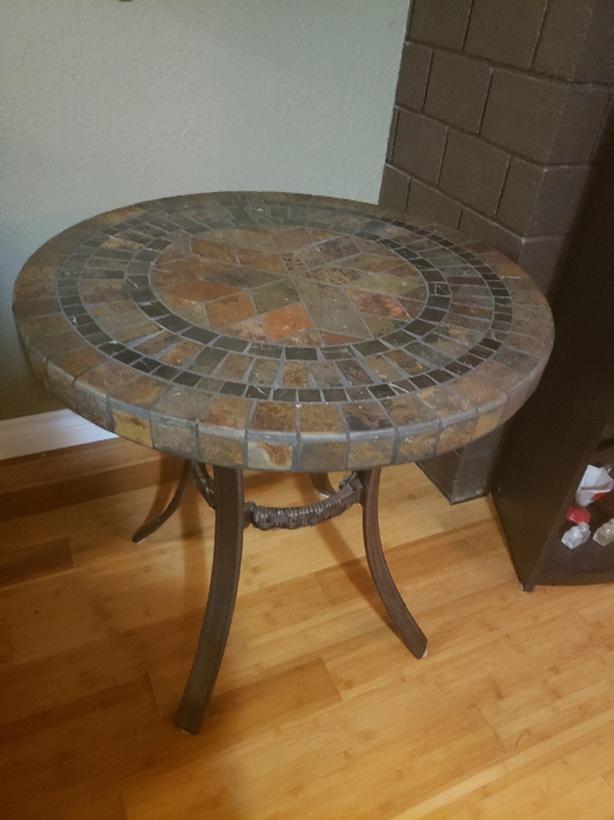 Round Genuine Slate Table