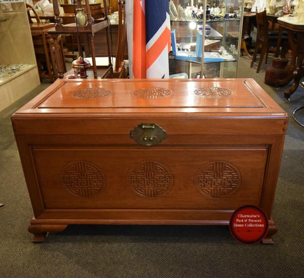 AMAZING VINTAGE CARVED CHINESE CHEST AT CHARMAINE'S