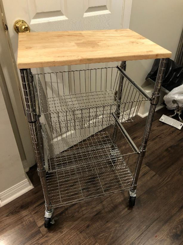 Kitchen Cart with Solid Wood Cutting Board