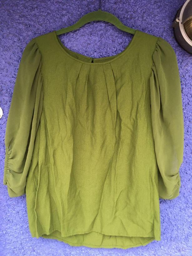 Sunlit Moss Green blouse, size M/L
