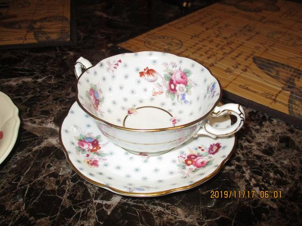 Royal Swansea/Dell China Cream Soup Bowls and Causer