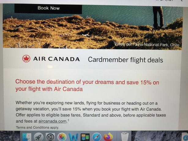 AIR CANADA 15% PROMOTION CODE