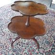 Antique Mahogany Two Tiered Pie Crust Side Table