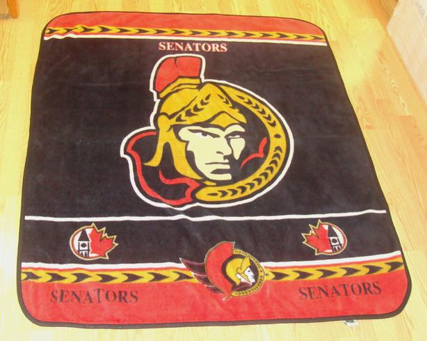 "Ottawa Senators Large Fuzzy Warm Blanket Sens 50"" x 60"" - $35"