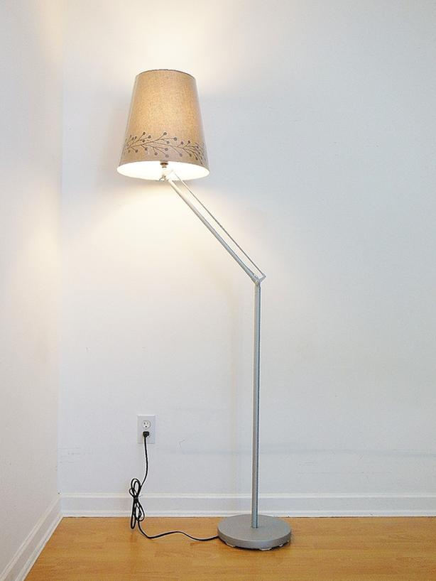 Ikea Articulating Floor Lamp - Silver Frame  Taupe Shade