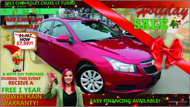 2011 Chevrolet Cruze LT Turbo - On Sale Now !!