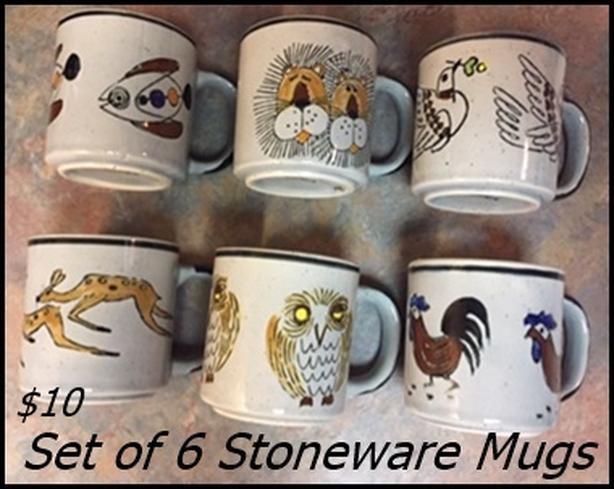 Stoneware Mug set $10. // Variety mugs $6