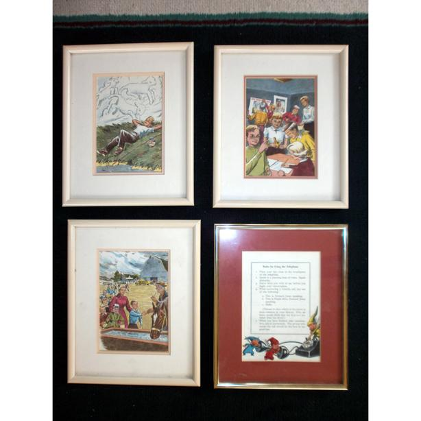 4 Framed 1960 School Reader Pictures Nostalgia Telephone Manners Dick Jane