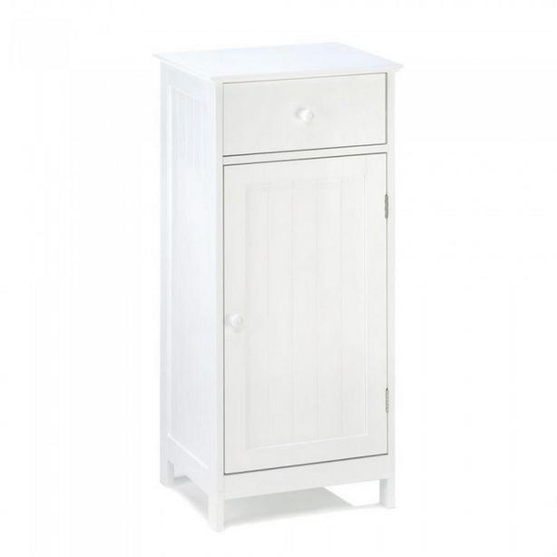 Spacesaving White Wood Storage Cabinet Floor Design with Shelf & Drawer NEW