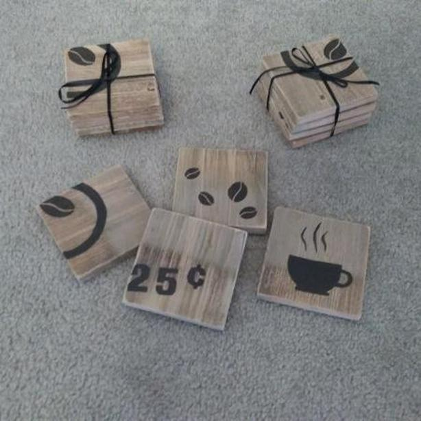 COFFEE-THEMED RUSTIC COASTERS