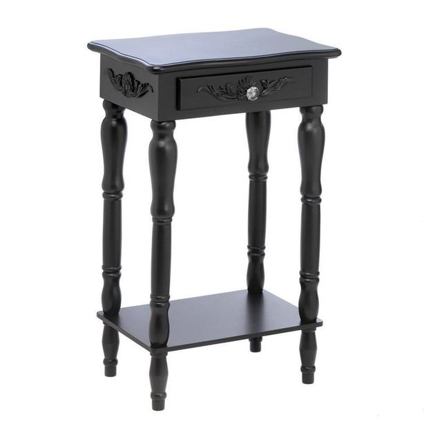 Black Accent Side End Table Nightstand with Turned Legs Drawer & Shelf New