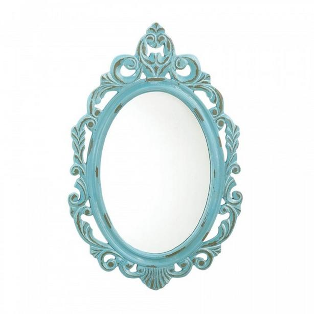 Oval Mirror Ornate Frame Blue White Gold Silver Yellow 2Lot Choice Wood