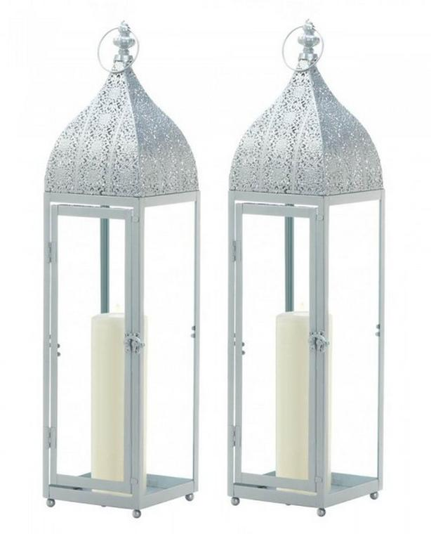 """24"""" Silver Candle Lantern Clear Glass Panels & Intricate Detailed Top 2 Lot New"""