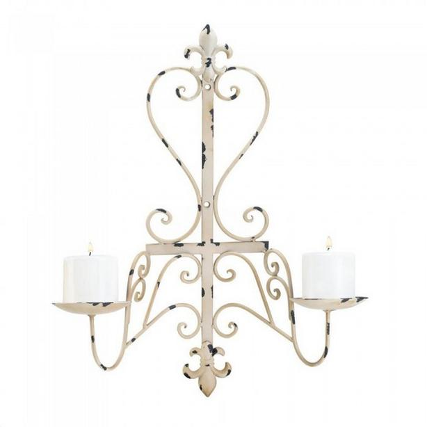 Aged Distressed Ivory/Beige Fleur-de-lis Wall Mirror & Candleholder Wall Sconces