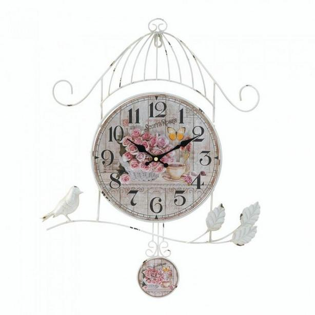 Coordinating Mantel & Wall Clock Country Rose with Pendulum Mixed Lot of 2 New