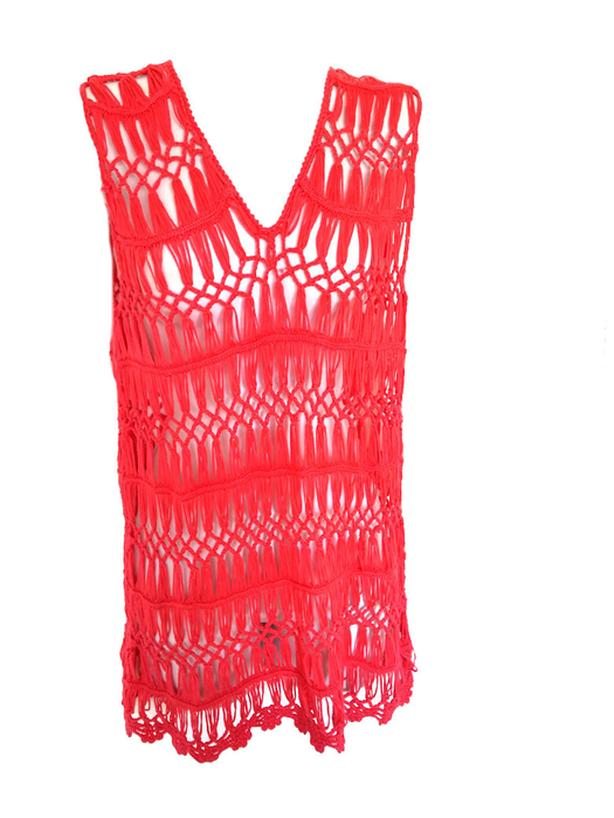 Crochet Net Swimsuit Coverup Top M