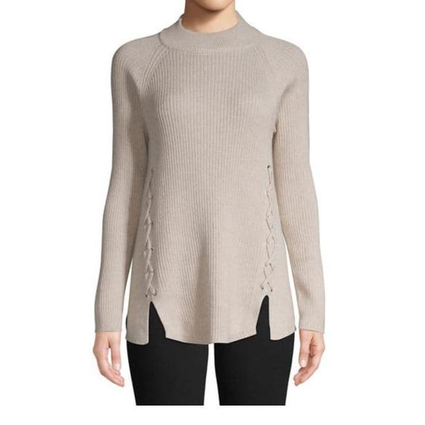 Cotton Knit Sweater w.Lace-up Detail beige M