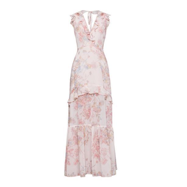 BCBGen Floral Ruffle Maxi Dress pink 6