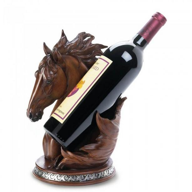 Sculpted Horse Head Bust Figurine & Wine Bottle Holder 2PC Mixed Lot