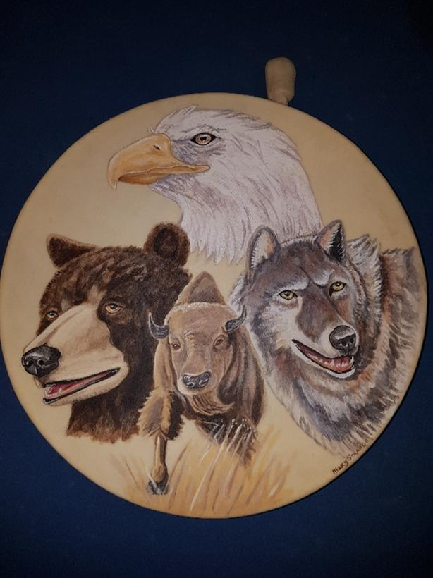 Hand Painted Spirit Animal Native American Drums