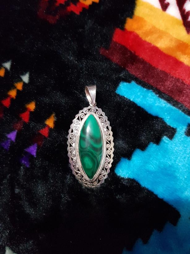 South African Malakite Silver Pendant