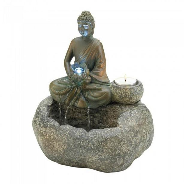 Light-Up Buddha Tabletop Water Fountain with Tealight Candleholder