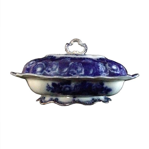 Antique flow blue covered vegetable dish