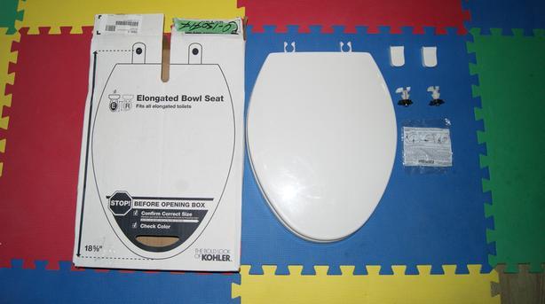 KOHLER Cachet Quick Release Toilet Seat in White Model # 4636-0