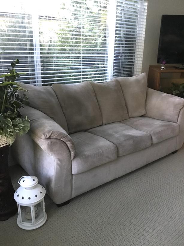 Light Taupe Microfibre Three Seater Couch