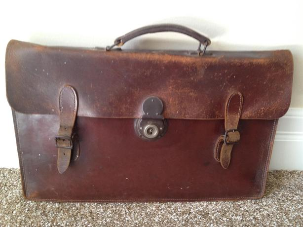 Vintage 1920s English Leather Briefcase