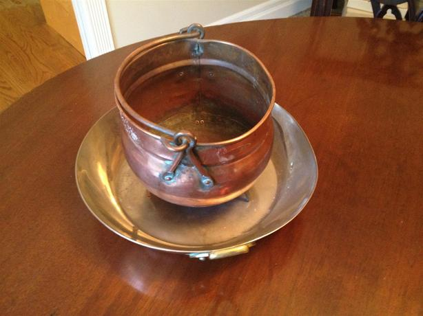 Vintage Copper Plant Pot & Pan