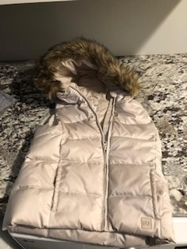 Gap Girls Puffer Vest with Fur Trim Hood