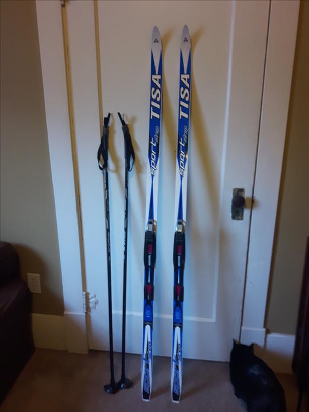 Cross country skis, bindings and poles