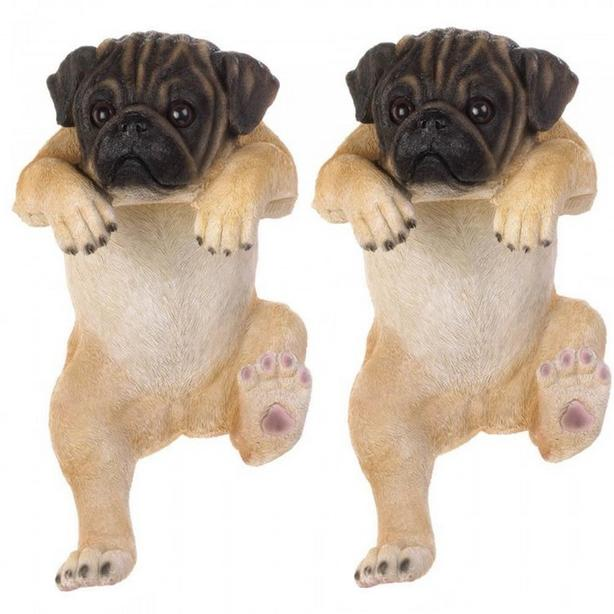 """15"""" Climbing Pug Dog Figurine For Fence or Potted Plant Set of 2 New"""