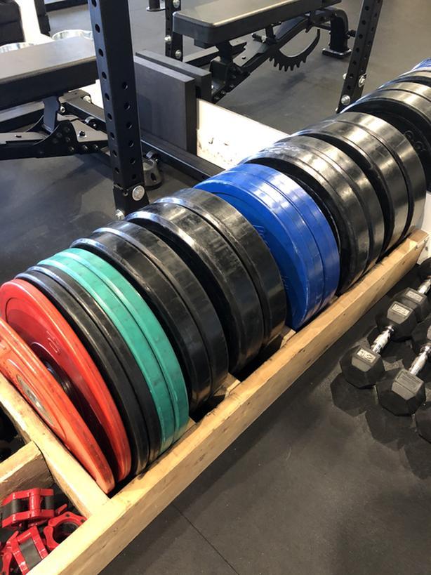 Full Set of Bumper Plates and Wood Rack