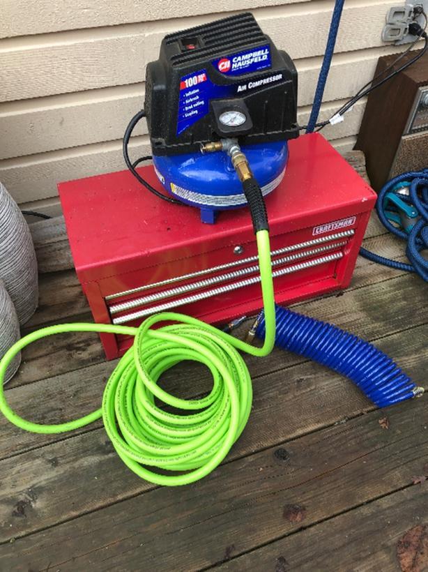 Air  compressor/ hose and tool box