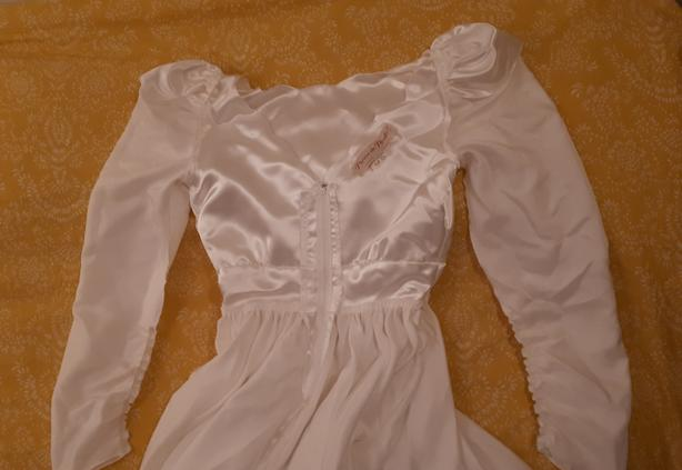 Vintage long sleeve white satin wedding dress, sz 12-14 PHOTOS_2