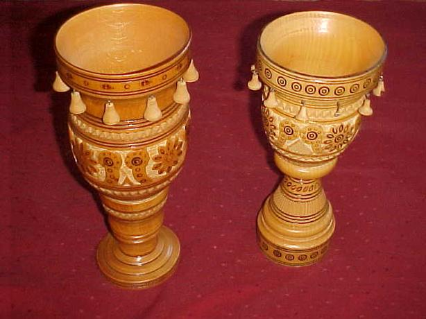 UKRAINIAN HAND CARVED WOODEN VASES