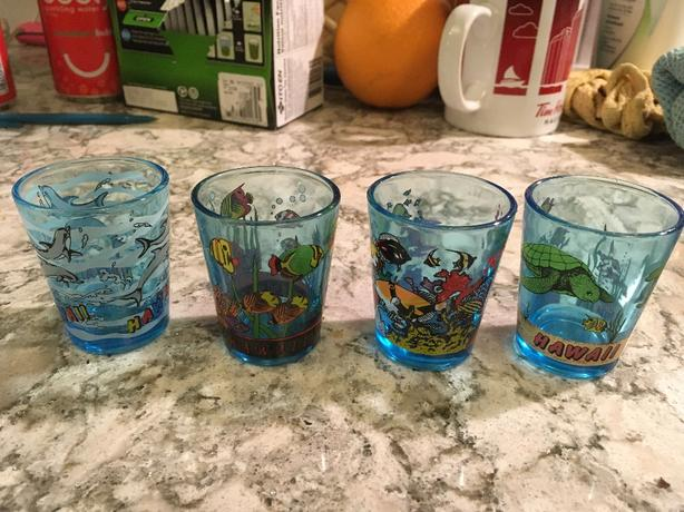4 Hawaiian shot glasses