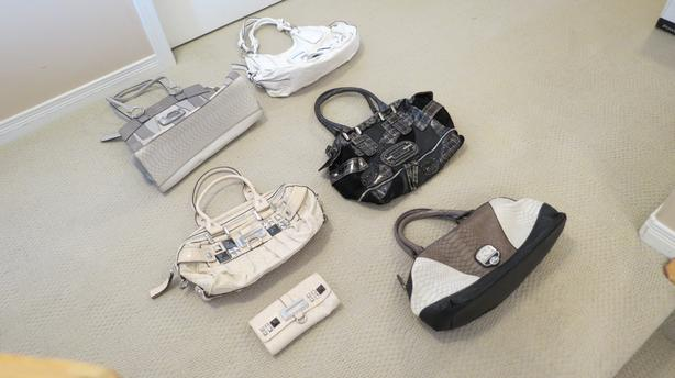 6 Authentic used GUESS bags/purses & wallet - good condition