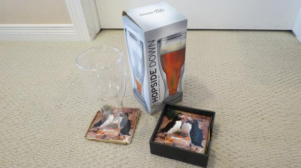 NEW!  Beer bottle cup with Puffin coasters