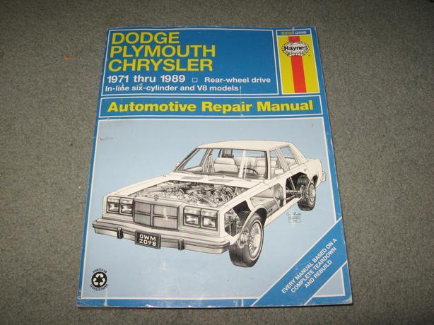 1971 - 1989 Dodge Plymouth Chrysler Repair Manual