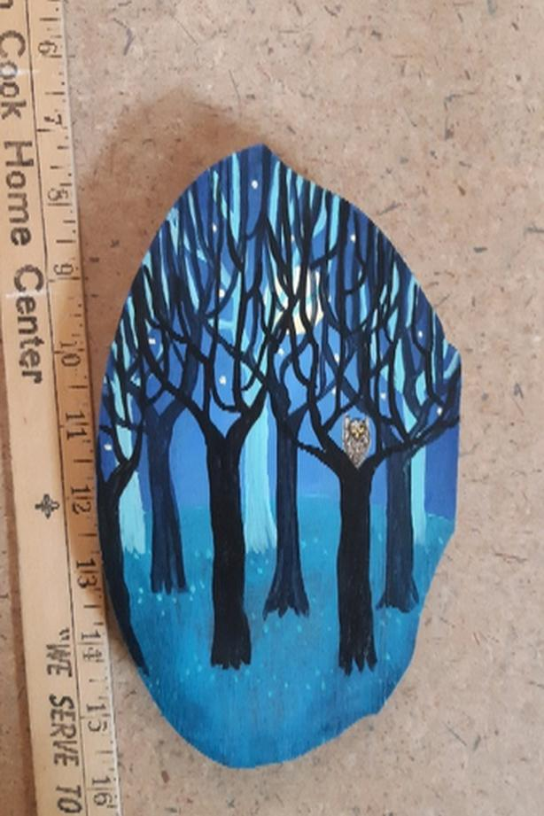 Painted Owl in Trees on Wood
