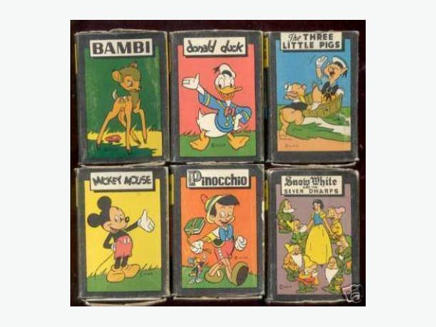 1946 Card Games. Set of 6. Mickey Mouse, Bambi, etc.