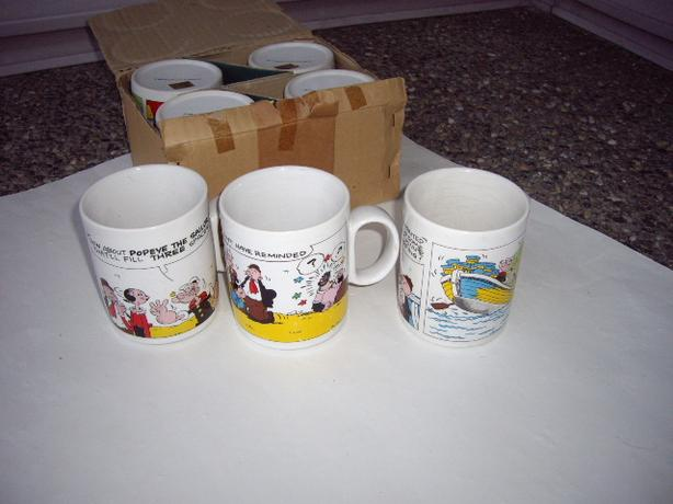 POPEYE THE SAILOR MUGS NEW $9 EA 1980