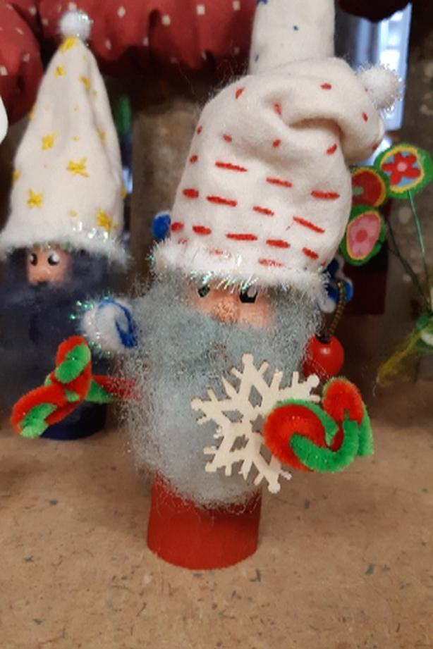 Folk Art Carved Gnomes and Fabric Mushrooms